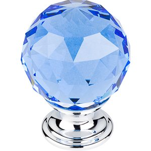 "Top Knobs - Crystal - 1 3/8"" (35mm) Diameter Knob in Blue Crystal with Polished Chrome"