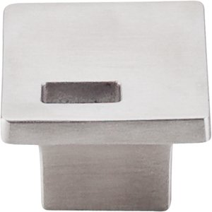 "Top Knobs - Sanctuary - 1 1/4"" Square Modern Metro Off Center Slot Knob in Brushed Stainless Steel"