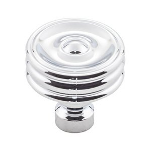 "Top Knobs - Devon - 1 1/4"" Brixton Ridged Knob in Polished Chrome"