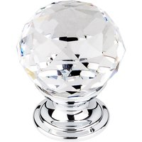 "Top Knobs - Crystal - 1 1/8"" Diameter Knob in Clear Crystal with Polished Chrome"