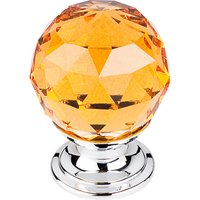"Top Knobs - Crystal - 1 1/8"" (29mm) Diameter Knob in Amber Crystal with Polished Chrome"