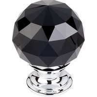 "Top Knobs - Crystal - 1 3/8"" (35mm) Diameter Knob in Black Crystal with Polished Chrome"