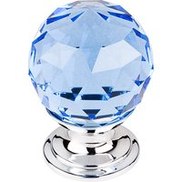 "Top Knobs - Crystal - 1 1/8"" Diameter Knob in Blue Crystal with Polished Chrome"